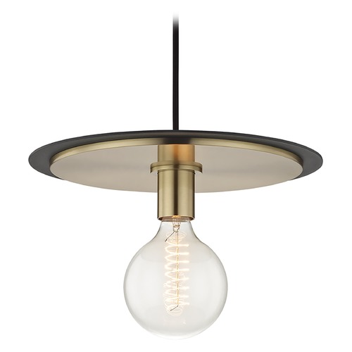 Hudson Valley Lighting Mid-Century Modern Pendant Light Brass / Black Mitzi Milo by Hudson Valley H137701L-AGB/BK