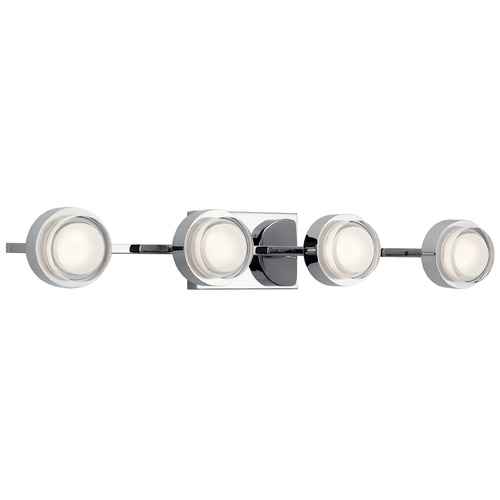 Elan Lighting Harlaw 4-Light Chrome LED Bathroom Light with Etched Acrylic 85078CH