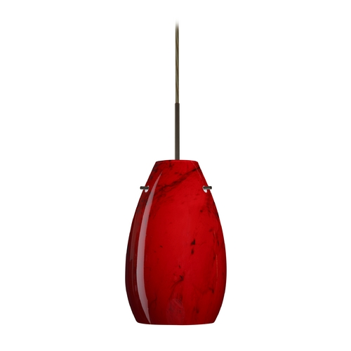 Besa Lighting Modern Pendant Light with Red Glass in Bronze Finish 1JT-4126MA-BR