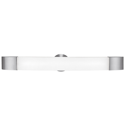 Access Lighting Modern Bathroom Light with White Glass in Brushed Steel Finish 31004-BS/OPL