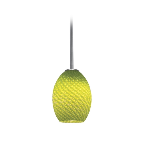 Access Lighting Modern Mini-Pendant Light with Green Glass 28023-2R-BS/LGRFB