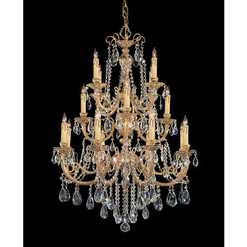 Crystorama Lighting Crystal Chandelier in Olde Brass Finish 480-OB-CL-SAQ