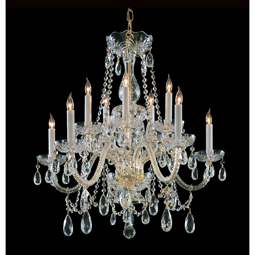 Crystorama Lighting Crystal Chandelier in Polished Brass Finish 1130-PB-CL-S