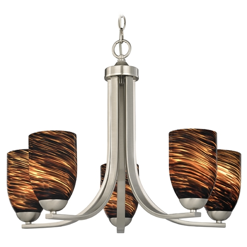 Design Classics Lighting Chandelier with Brown Art Glass in Satin Nickel Finish 584-09 GL1023D