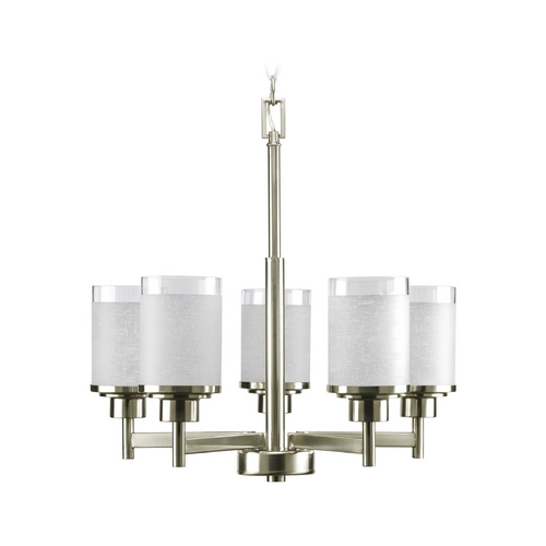 Progress Lighting Progress Modern Chandelier with White Glass in Brushed Nickel Finish P4459-09