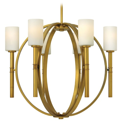 Hinkley Lighting Chandelier with White Glass in Vintage Brass Finish 3586VS