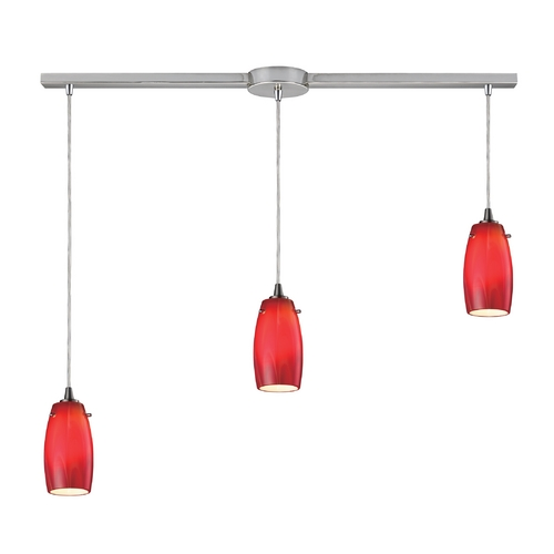 Elk Lighting Modern Multi-Light Pendant Light with Red Glass and 3-Lights 10223/3L-CHE