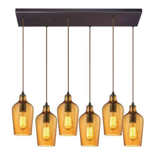 Elk Lighting Multi-Light Pendant Light with Amber Glass and 6-Lights 10331/6RC-HAMB