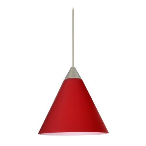 Besa Lighting Besa Lighting Kani Satin Nickel LED Mini-Pendant Light with Conical Shade 1XT-5121RM-LED-SN