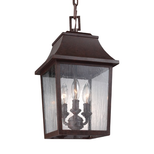 Feiss Lighting Seeded Glass Outdoor Hanging Light Copper Feiss Lighting OL11907PCR