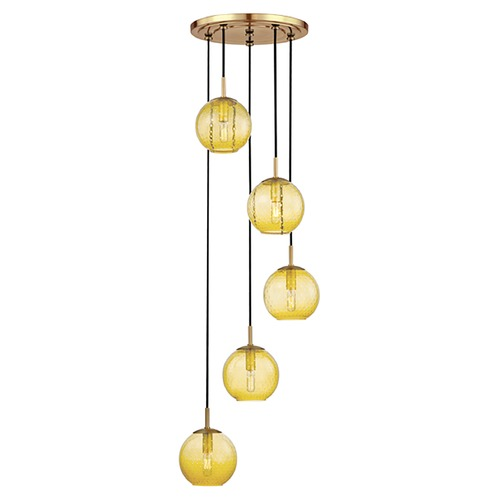 Hudson Valley Lighting Hudson Valley Lighting Rousseau Aged Brass Multi-Light Pendant with Globe Shade 2035-AGB-LA
