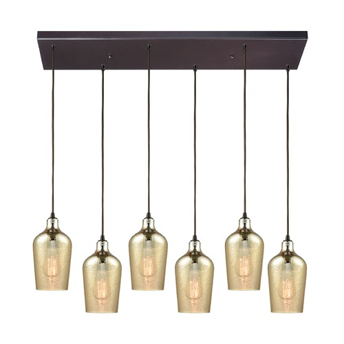 Elk Lighting Hammered Glass Oil Rubbed Bronze Multi-Light Pendant with 6 Lights 10840/6RC