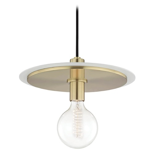 Mitzi by Hudson Valley Mid-Century Modern Pendant Light Brass / White Mitzi Milo by Hudson Valley H137701L-AGB/WH