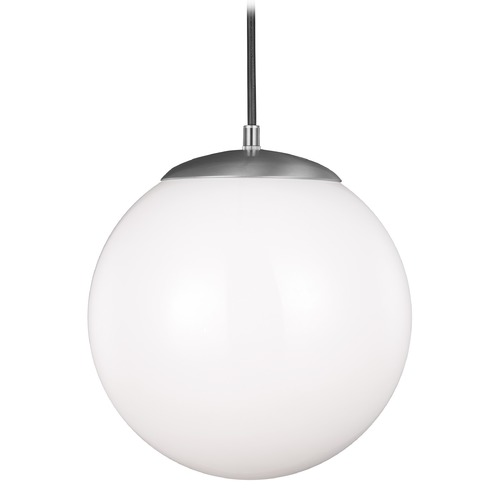 Sea Gull Lighting Sea Gull Lighting Hanging Globe Satin Aluminum LED Pendant Light with Globe Shade 6022EN3-04