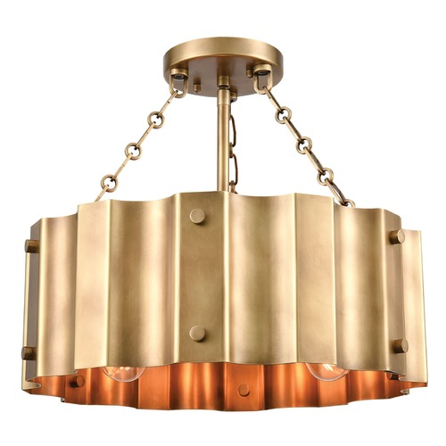 Elk Lighting Elk Lighting Clausten Natural Brass Semi-Flushmount Light 89066/3