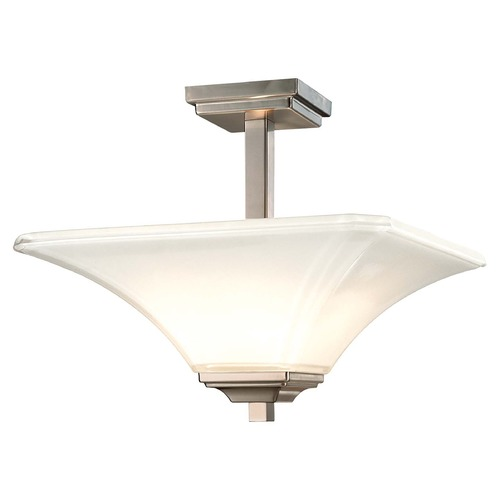 Minka Lavery Semi-Flushmount Light with White Glass in Brushed Nickel Finish 1816-84