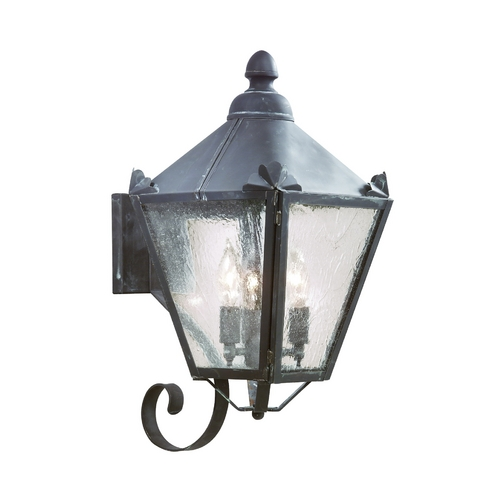 Troy Lighting Outdoor Wall Light with Clear Glass in Charred Iron Finish BCD8943CI