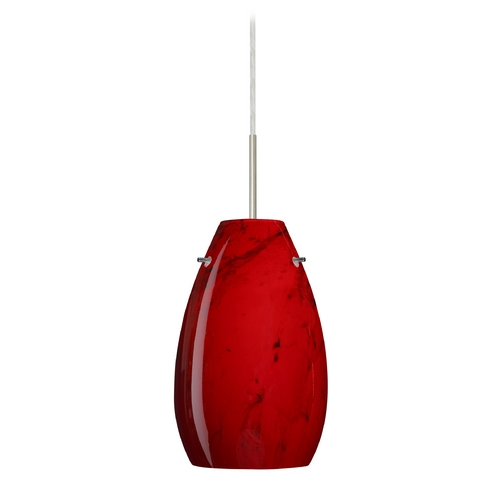 Besa Lighting Modern Pendant Light Red Glass Satin Nickel by Besa Lighting 1JT-4126MA-SN