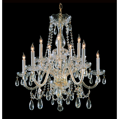 Crystorama Lighting Crystal Chandelier in Polished Brass Finish 1130-PB-CL-SAQ
