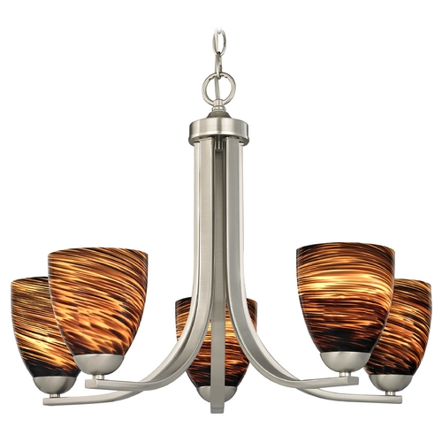 Design Classics Lighting Chandelier with Brown Art Glass in Satin Nickel Finish 584-09 GL1023MB