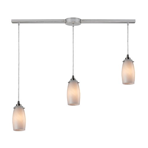 Elk Lighting Modern Multi-Light Pendant Light with Beige / Cream Glass and 3-Lights 10223/3L-COC