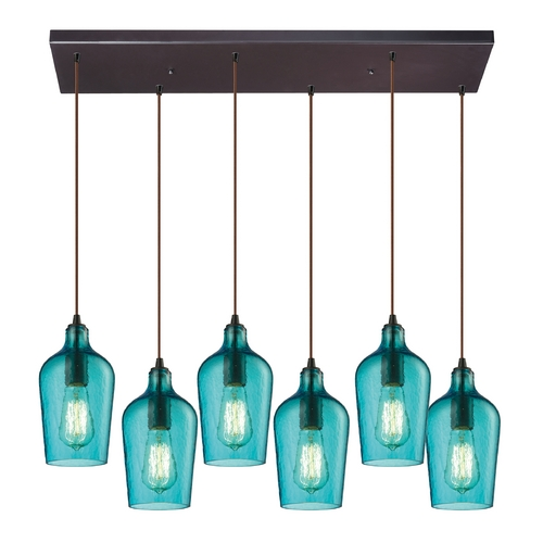 Elk Lighting Multi-Light Pendant Light with Green Glass and 6-Lights 10331/6RC-HAQ