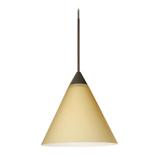 Besa Lighting Besa Lighting Kani Bronze LED Mini-Pendant Light with Conical Shade 1XT-5121VM-LED-BR