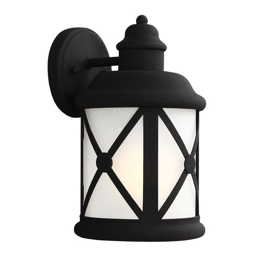 Sea Gull Lighting Etched Seeded Glass Outdoor Wall Light Black Sea Gull Lighting 8621401BLE-12
