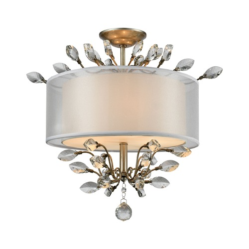 Elk Lighting Elk Lighting Asbury Aged Silver Semi-Flushmount Light 16281/3