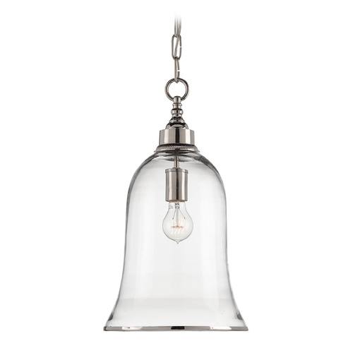 Currey and Company Lighting Currey and Company Campanile Nickel/clear Pendant Light with Bell Shade 9382