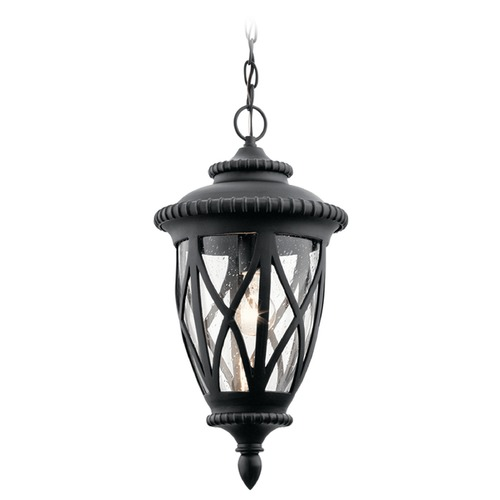 Kichler Lighting Seeded Glass Outdoor Hanging Light Black Kichler Lighting 49850BKT