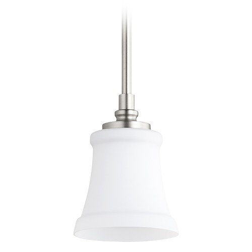 Quorum Lighting Quorum Lighting Rossington Satin Nickel Mini-Pendant Light with Bell Shade 3122-65