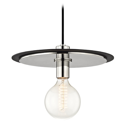 Hudson Valley Lighting Mid-Century Modern Pendant Light Polished Nickel / Black Mitzi Milo by Hudson Valley H137701L-PN/BK