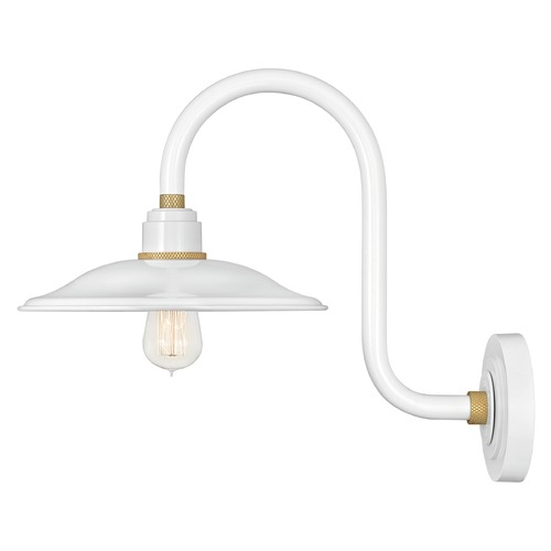 Hinkley Hinkley Foundry Gloss White / Brass Barn Light 10776GW