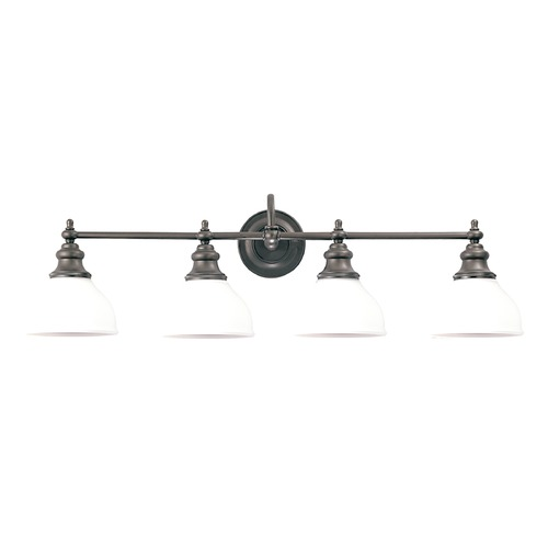 Hudson Valley Lighting Bathroom Light with White Glass in Antique Nickel Finish 5904-AN