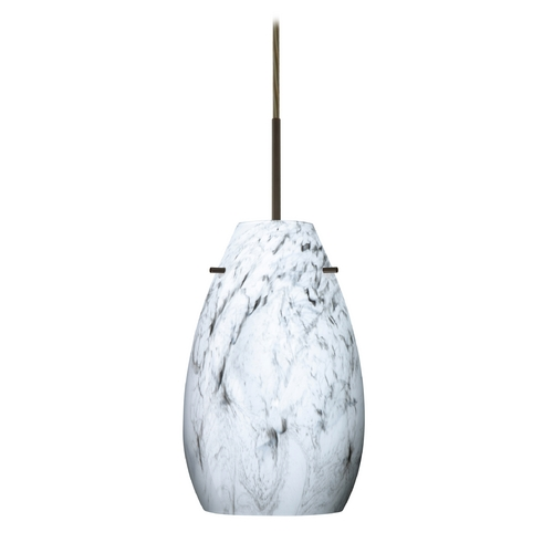 Besa Lighting Modern Pendant Light Marble Grigio Glass Bronze by Besa Lighting 1JT-4126MG-BR