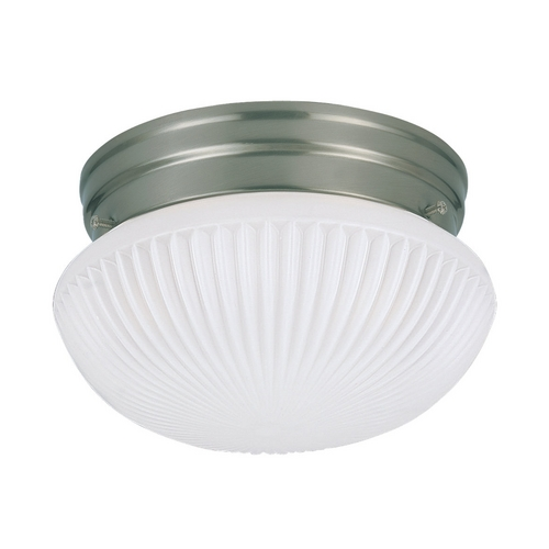 Sea Gull Lighting Flushmount Light with White Glass in Brushed Nickel Finish 5921BLE-962