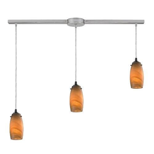 Elk Lighting Modern Multi-Light Pendant Light with Brown Glass and 3-Lights 10223/3L-MEL