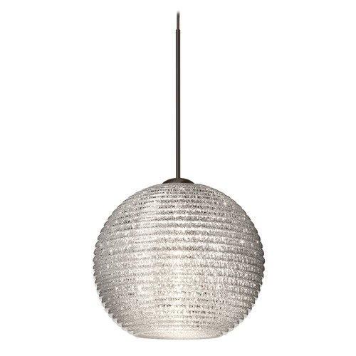 Besa Lighting Besa Lighting Kristall Bronze Mini-Pendant Light with Globe Shade 1XT-4615GL-BR