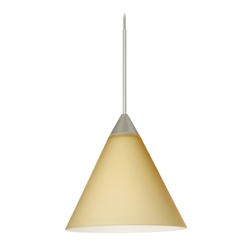 Besa Lighting Besa Lighting Kani Satin Nickel LED Mini-Pendant Light with Conical Shade 1XT-5121VM-LED-SN