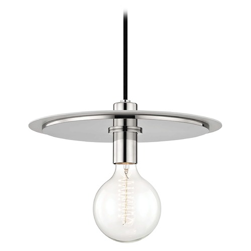 Hudson Valley Lighting Mid-Century Modern Pendant Light Polished Nickel / White Mitzi Milo by Hudson Valley H137701L-PN/WH