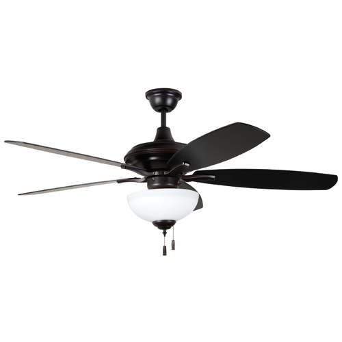 Craftmade Lighting 52-Inch Oiled Bronze Gilded Ceiling Fan with LED Light CN52OBG5-WG-LED