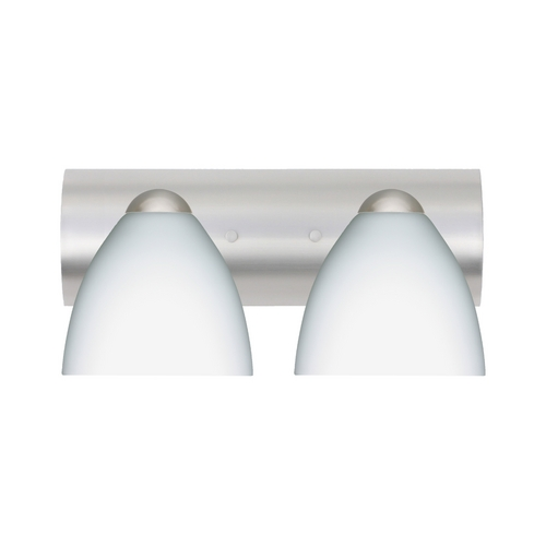 Besa Lighting Modern Bathroom Light with White Glass in Satin Nickel Finish 2WZ-757207-SN
