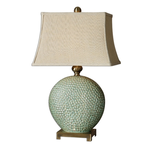 Uttermost Lighting Table Lamp with Beige / Cream Shade in Aquamarine Finish 26807