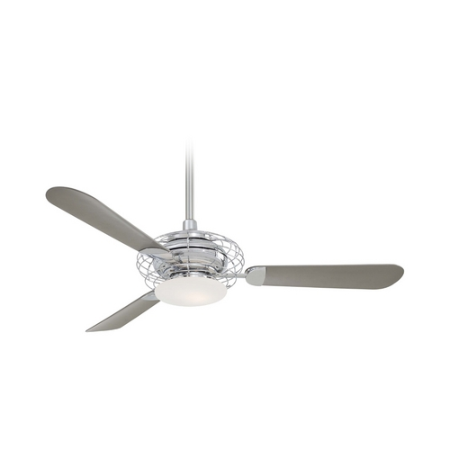 Minka Aire Modern Ceiling Fan with Light with White Glass in Polished Nickel Finish F601-PN