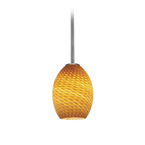 Access Lighting Modern Mini-Pendant Light with Amber Glass 28023-2R-BS/AMBFB