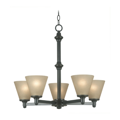 Kenroy Home Lighting Chandelier with Amber Glass in Bronze Patina Finish 91755BP