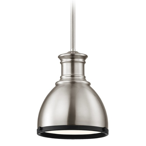 Design Classics Lighting Industrial Metal Pendant Light Satin Nickel and Black 7.38-Inch Wide 1761-09 SH1775-09 R1775-07
