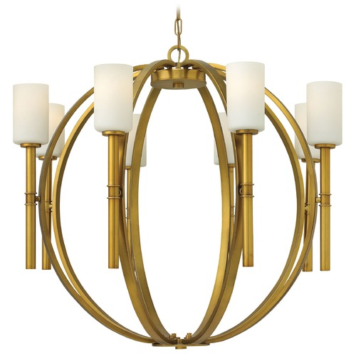 Hinkley Lighting Chandelier with White Glass in Vintage Brass Finish 3588VS