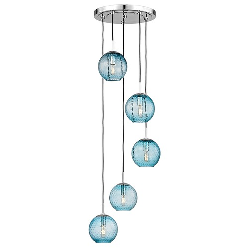 Hudson Valley Lighting Hudson Valley Lighting Rousseau Polished Chrome Multi-Light Pendant with Globe Shade 2035-PC-BL